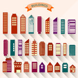 0115_2 set of buildings. Cityscape icon set of buildings different floors and structures Stock Photo