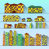 Set of buildings. Cityscape icon set of buildings with shadow in flat style. Vector vector illustration