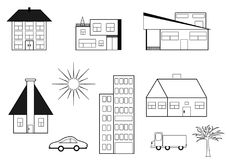The set of buildings. Collection of drawings, symbols, buildings, tree and cars. Format jpg and vector royalty free illustration