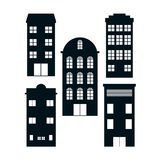 Set of buildings. Collection vector illustration graphic design Royalty Free Stock Photo