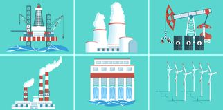 Set of buildings for electricity production. A set of buildings for electricity production. Gas and oil production. Hydroelectric, wind power, nuclear power royalty free illustration