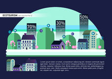 Set of buildings in flat design. Style. City against the sky and a green hill. Infographic elements of architecture of a small town royalty free illustration