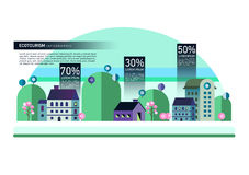 Set of buildings in flat design. Style. City against the sky and a green hill. Infographic elements of architecture of a small town Royalty Free Stock Image