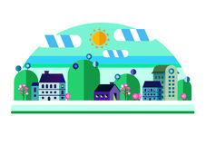 Set of buildings in flat design. Style. City against the sky and a green hill. Infographic elements of architecture of a small town Stock Image