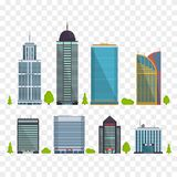 Set of buildings in flat style. City houses. Vector illustration. Template Stock Image