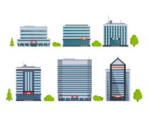 Set of buildings in flat style. City houses. Vector illustration. Template vector illustration