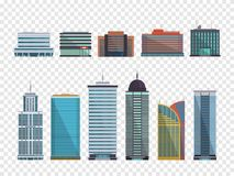 Set of buildings in flat style. City houses. Vector illustration. Template Royalty Free Stock Photography