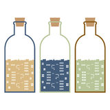 Set Of Buildings In Glasses Bottles Stock Photo