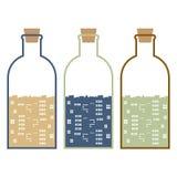 Set Of Buildings In Glasses Bottles. Vector Illustration Stock Photo