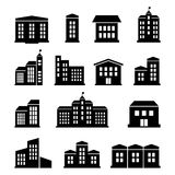A set of buildings and houses icons Stock Photos