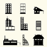 Set of buildings. Icon, flat design vector illustration
