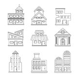 Set of buildings icons. For design royalty free illustration
