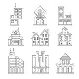 Set of buildings icons. For design Royalty Free Stock Photos