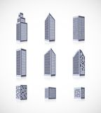 Set of buildings icons. Set of buildings skyscraper house apartment icons with reflection royalty free illustration