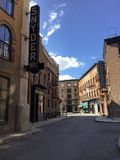 This is a set of a buildings  located on a studio lot simulating a historical town setting such as New York City where old movies. Are filmed royalty free stock photos