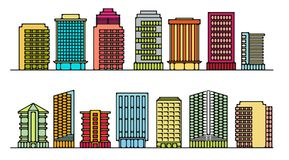 Set buildings for office. Set of buildings for office stock illustration