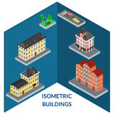 Set buildings of old architecture. Vector illustration. set buildings of old architecture. Infographics, isometric, 3D stock illustration