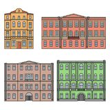 Set of buildings in the old town. Beautiful houses in the style of classicism. Сolor. Vector. EPS 10 Stock Photography