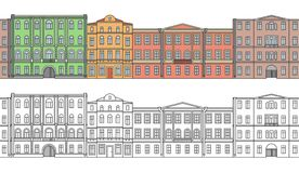 Set of buildings in the old town. Beautiful houses in the style of classicism. Street. Сolor. Seamless pattern royalty free illustration