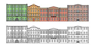 Set of buildings in the old town. Beautiful houses in the style of classicism. Street. Сolor. Vector. EPS 10 Royalty Free Stock Photo