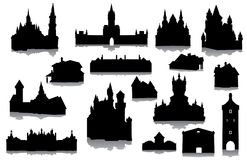 Set of buildings silhouettes Royalty Free Stock Photo