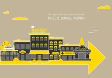 Set buildings of small business flat design. Set of buildings in the style of small business flat design Stock Photos