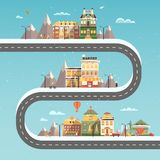 Set buildings of small business flat design. Set of buildings in the style of small business flat design. Infographics winter city in anticipation of Christmas Stock Photo