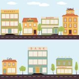 Set of buildings in the style small business flat design. Set of buildings in the style of small business flat design royalty free illustration
