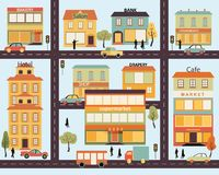 Set of buildings in the style small business flat design Stock Image