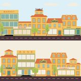 Set of buildings in the style small business flat design. Set of buildings in the style of small business flat design. Architecture of a small town market, salon vector illustration
