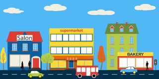 Set of buildings in the style small business flat design Stock Photo