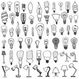 Set of Bulb Doodle. Royalty Free Stock Photography