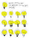 Set of bulb icons, stylized kids drawing. Childish text about choosing an idea, cute ison. Children drawing of lamps Stock Photos
