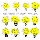 Set of bulb icons, stylized kids drawing. Children drawing of lamps with cute cartoon faces. Creative hand draw Stock Image