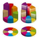 Set of bulk isometric pie charts different heights and color gradation. Templates realistic three-dimensional pie charts Stock Photography