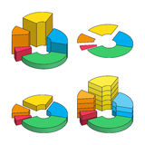 Set of bulk isometric pie charts different heights, hard stroke, separated segments Stock Photo