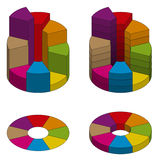 Set of bulk isometric pie charts different heights with hard stroke. Templates realistic three-dimensional pie charts Stock Image