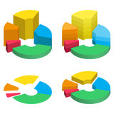 Set of bulk isometric pie charts different heights, separated segments. Templates realistic three-dimensional pie charts Stock Images