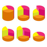 Set of bulk isometric pie charts different heights, separated segments. Templates realistic three-dimensional pie charts Stock Photography