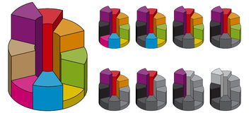 Set of bulk isometric pie charts different heights. Templates realistic three-dimensional pie charts Royalty Free Stock Photo