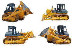 Set of bulldozers loaders. With raised blade isolated on white Stock Images