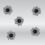 Bullet Holes. A set of 5 bullet holes on a metal background. Vector EPS 10 file available which is scaleable. Bullet holes are grouped and layered from the Royalty Free Stock Photography