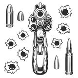 Set of bullet holes. With gun. Isolated on white background. Vector illustration Stock Images