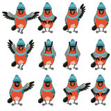 Set of Bullfinches with hats flat icons. Vector image of the Set of Bullfinches with hats flat icons royalty free illustration