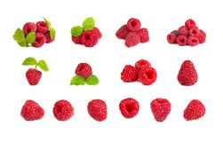 Set of a bunch of a red raspberry on a white background. Close u Stock Photos