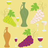 Set with bunches of grapes and wineglasses Royalty Free Stock Images