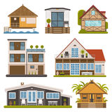 Set of Bungalows, Apartments and House for Rent Royalty Free Stock Photography