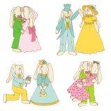 Set of Bunny Dolls Royalty Free Stock Photos