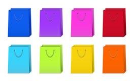 Set bunte Einkaufen-Beutel Lizenzfreies Stockfoto