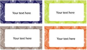 Set bunte Retro- Visitenkarten Stockfotografie
